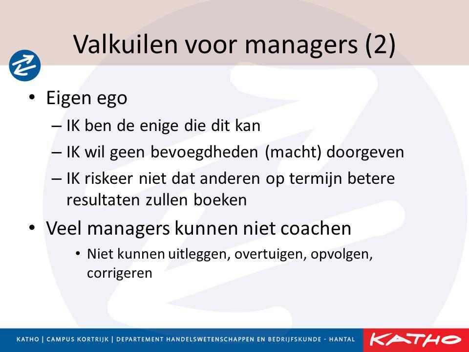 Valkuilen voor managers (2) • Eigen ego – IK ben de enige die dit kan – IK wil geen bevoegdheden (macht) doorgeven – IK riskeer niet dat anderen op te