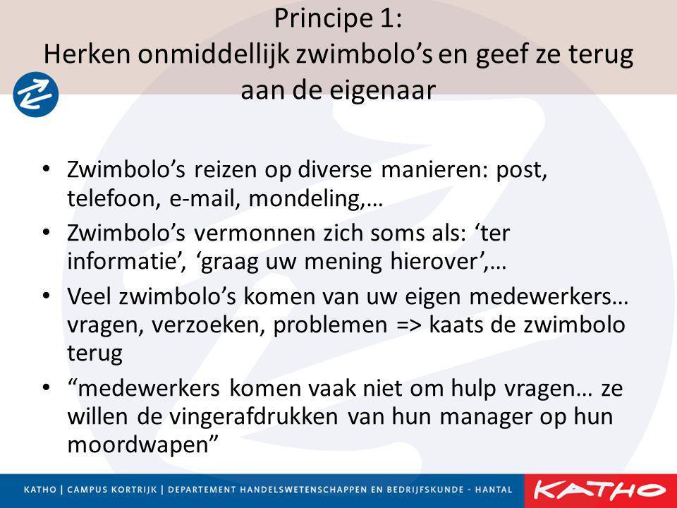 Principe 1: Herken onmiddellijk zwimbolo's en geef ze terug aan de eigenaar • Zwimbolo's reizen op diverse manieren: post, telefoon, e-mail, mondeling