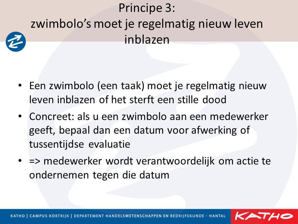 Principe 3: zwimbolo's moet je regelmatig nieuw leven inblazen • Een zwimbolo (een taak) moet je regelmatig nieuw leven inblazen of het sterft een sti
