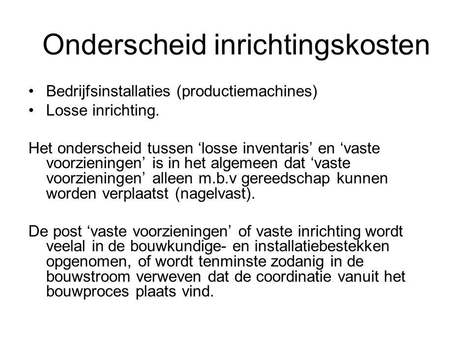 Onderscheid inrichtingskosten •Bedrijfsinstallaties (productiemachines) •Losse inrichting. Het onderscheid tussen 'losse inventaris' en 'vaste voorzie