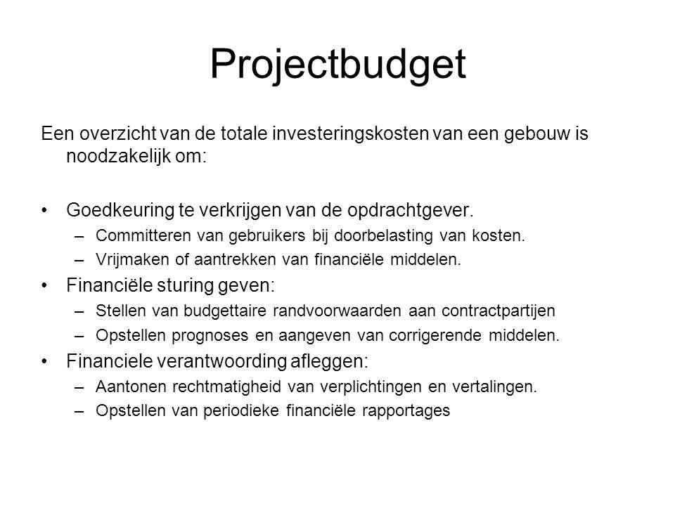 Projectbudget Een overzicht van de totale investeringskosten van een gebouw is noodzakelijk om: •Goedkeuring te verkrijgen van de opdrachtgever. –Comm