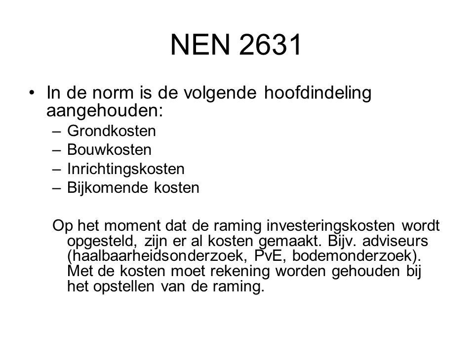 NEN 2631 •In de norm is de volgende hoofdindeling aangehouden: –Grondkosten –Bouwkosten –Inrichtingskosten –Bijkomende kosten Op het moment dat de ram