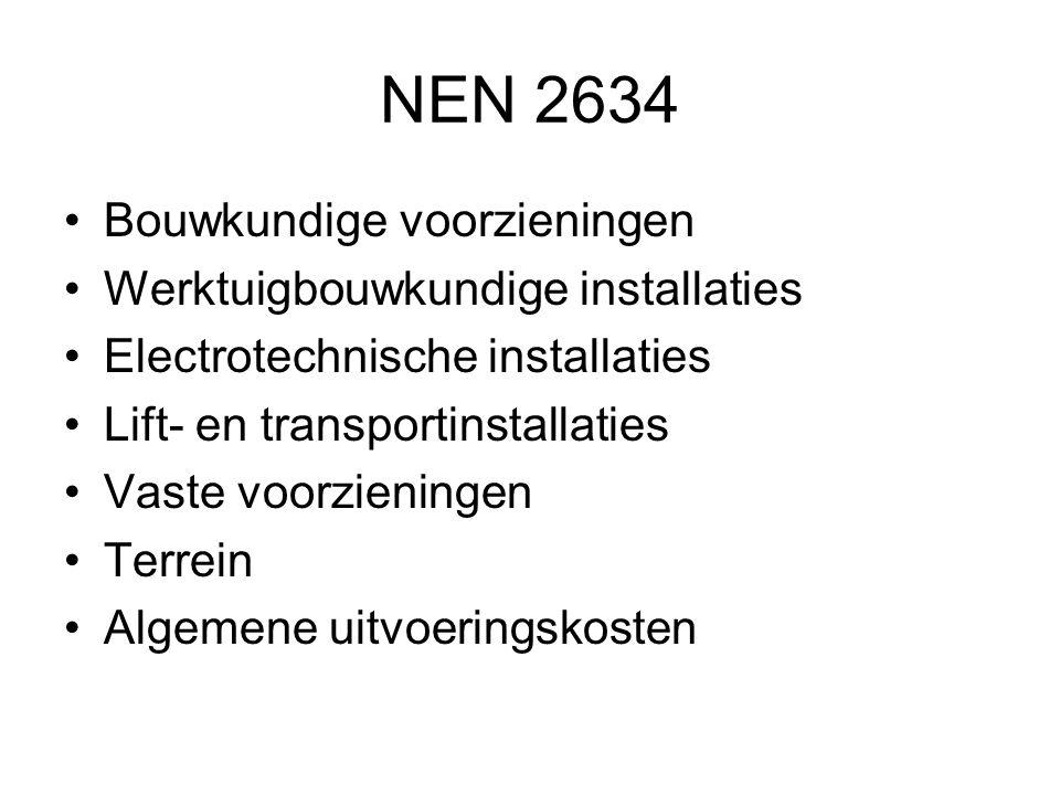 NEN 2634 •Bouwkundige voorzieningen •Werktuigbouwkundige installaties •Electrotechnische installaties •Lift- en transportinstallaties •Vaste voorzieni