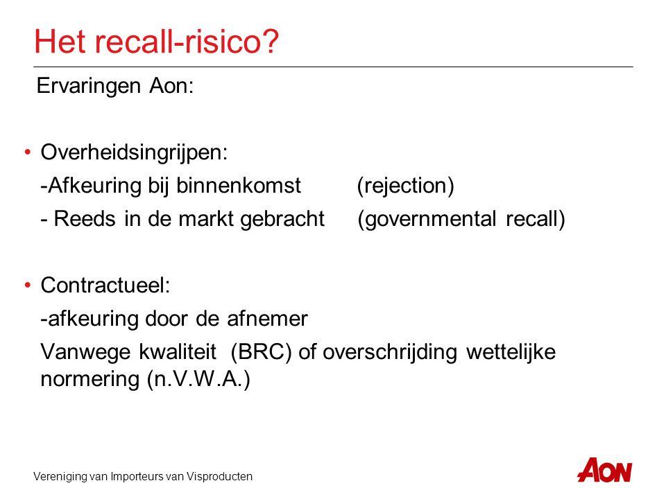Vereniging van Importeurs van Visproducten Het recall-risico? Ervaringen Aon: •Overheidsingrijpen: -Afkeuring bij binnenkomst(rejection) - Reeds in de