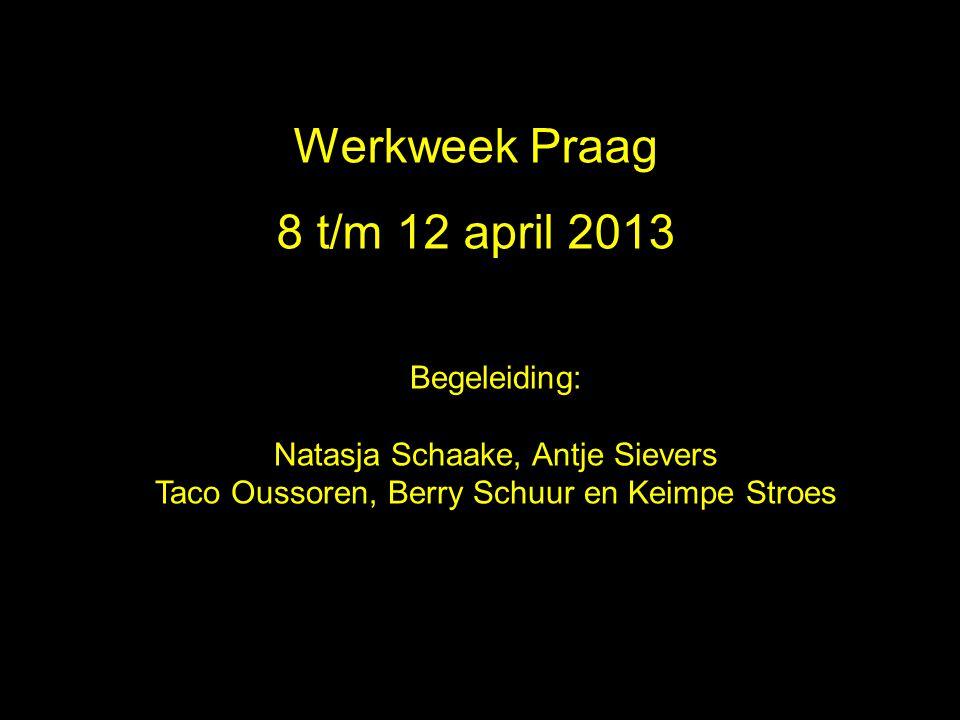 Werkweek Praag 2010 Werkweek Praag 8 t/m 12 april 2013 Begeleiding: Natasja Schaake, Antje Sievers Taco Oussoren, Berry Schuur en Keimpe Stroes