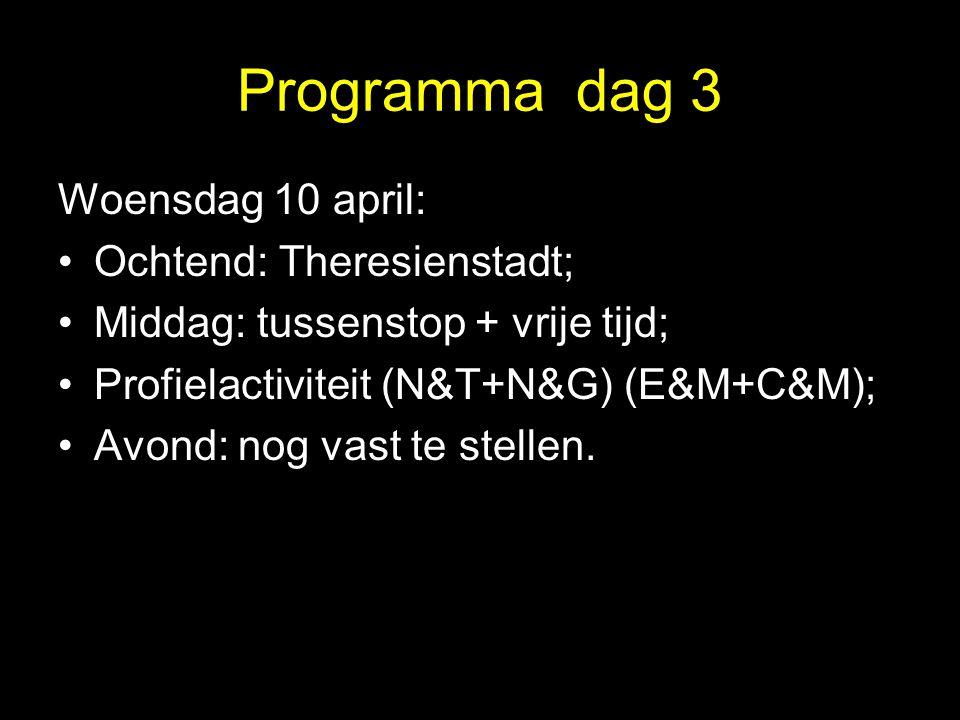 Programma dag 3 Woensdag 10 april: •Ochtend: Theresienstadt; •Middag: tussenstop + vrije tijd; •Profielactiviteit (N&T+N&G) (E&M+C&M); •Avond: nog vas