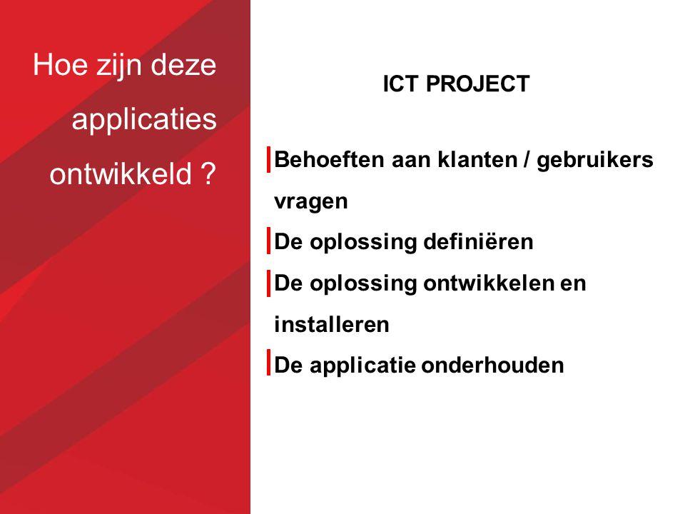 Hoe zijn deze applicaties ontwikkeld ? Behoeften aan klanten / gebruikers vragen De oplossing definiëren De oplossing ontwikkelen en installeren De ap
