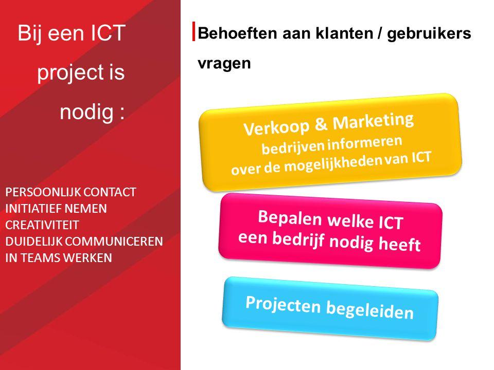 Bij een ICT project is nodig : Behoeften aan klanten / gebruikers vragen Verkoop & Marketing bedrijven informeren over de mogelijkheden van ICT Bepale