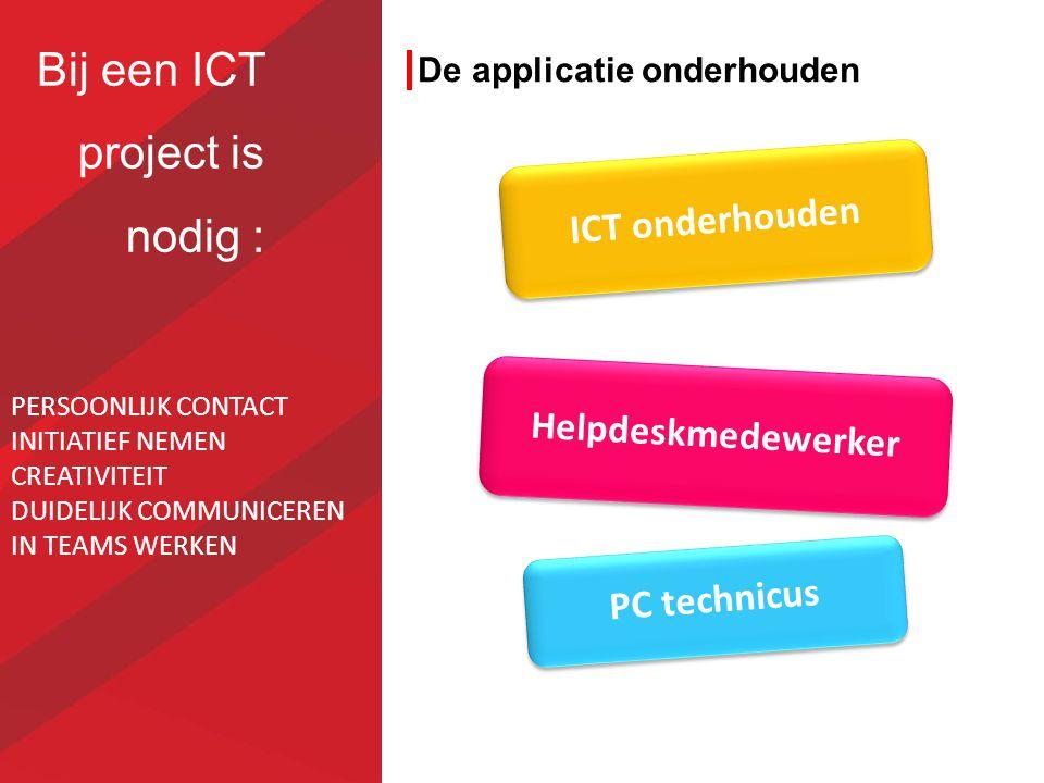 De applicatie onderhouden PC technicus ICT onderhouden Helpdeskmedewerker Bij een ICT project is nodig : PERSOONLIJK CONTACT INITIATIEF NEMEN CREATIVI
