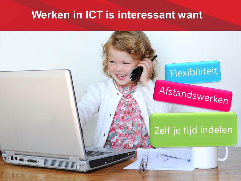 Werken in ICT is interessant want Flexibiliteit Afstandswerken Zelf je tijd indelen