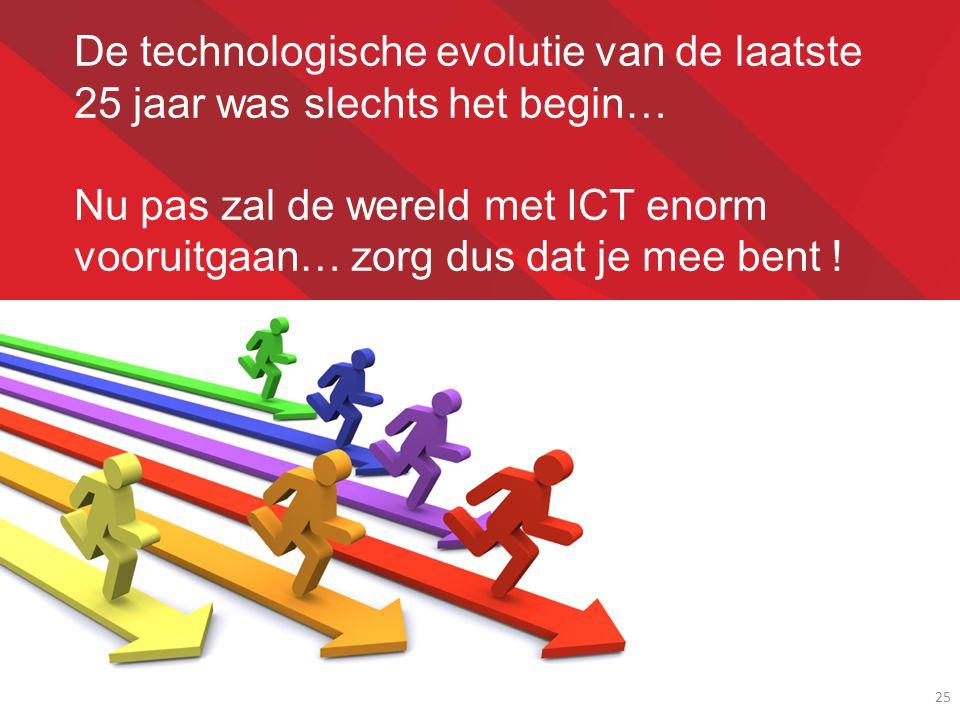 25 De technologische evolutie van de laatste 25 jaar was slechts het begin… Nu pas zal de wereld met ICT enorm vooruitgaan… zorg dus dat je mee bent !