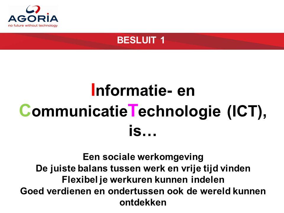 BESLUIT 1 I nformatie- en C ommunicatie T echnologie (ICT), is… Een sociale werkomgeving De juiste balans tussen werk en vrije tijd vinden Flexibel je