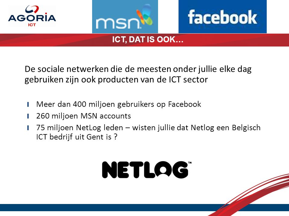 De sociale netwerken die de meesten onder jullie elke dag gebruiken zijn ook producten van de ICT sector ❙ Meer dan 400 miljoen gebruikers op Facebook