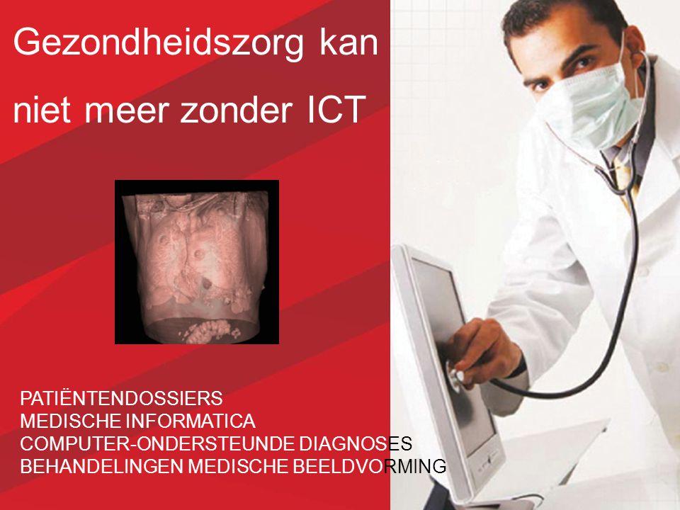 Gezondheidszorg kan niet meer zonder ICT PATIËNTENDOSSIERS MEDISCHE INFORMATICA COMPUTER-ONDERSTEUNDE DIAGNOSES BEHANDELINGEN MEDISCHE BEELDVORMING