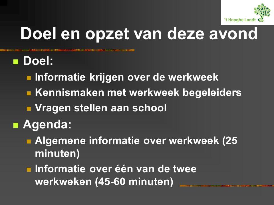 Doel en opzet van deze avond  Doel:  Informatie krijgen over de werkweek  Kennismaken met werkweek begeleiders  Vragen stellen aan school  Agenda:  Algemene informatie over werkweek (25 minuten)  Informatie over één van de twee werkweken (45-60 minuten)