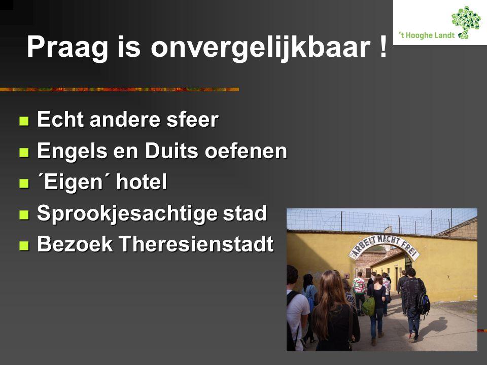 Praag is onvergelijkbaar !  Echt andere sfeer  Engels en Duits oefenen  ´Eigen´ hotel  Sprookjesachtige stad  Bezoek Theresienstadt