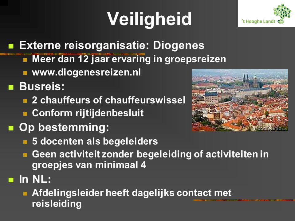 Veiligheid  Externe reisorganisatie: Diogenes  Meer dan 12 jaar ervaring in groepsreizen  www.diogenesreizen.nl  Busreis:  2 chauffeurs of chauff