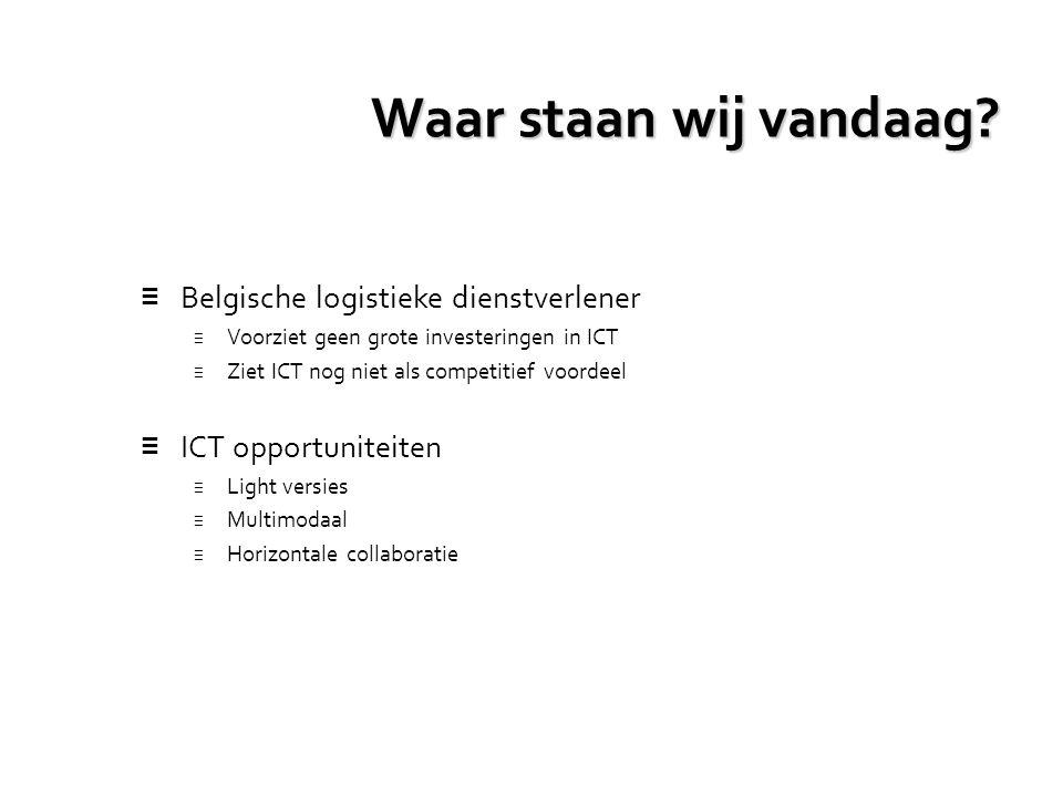 Waar staan wij vandaag? ≡ Belgische logistieke dienstverlener ≡ Voorziet geen grote investeringen in ICT ≡ Ziet ICT nog niet als competitief voordeel
