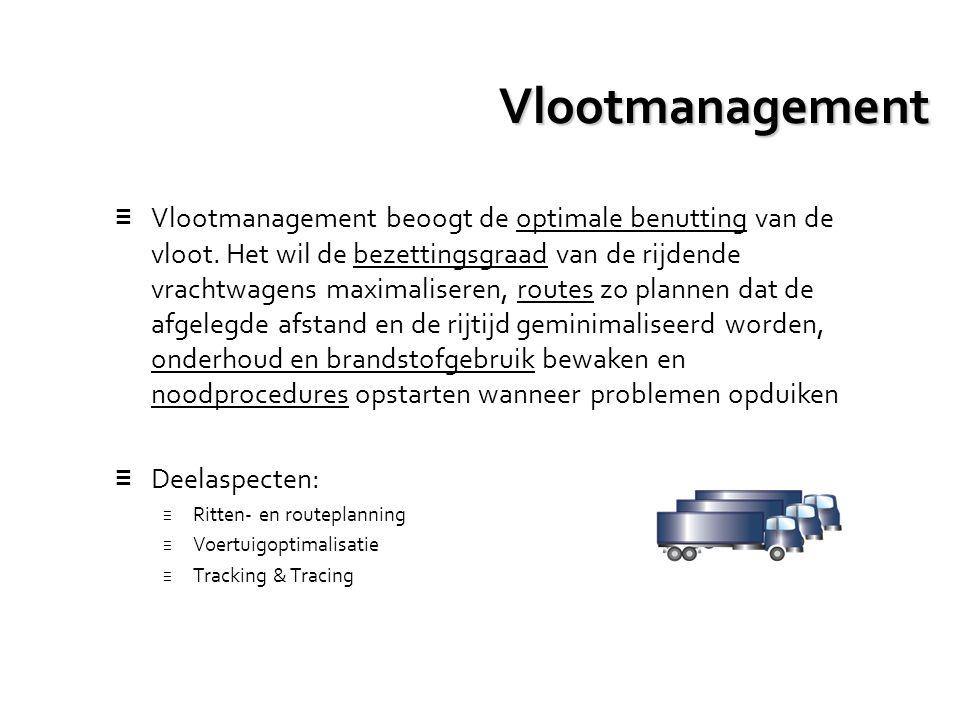 Vlootmanagement ≡ Vlootmanagement beoogt de optimale benutting van de vloot. Het wil de bezettingsgraad van de rijdende vrachtwagens maximaliseren, ro