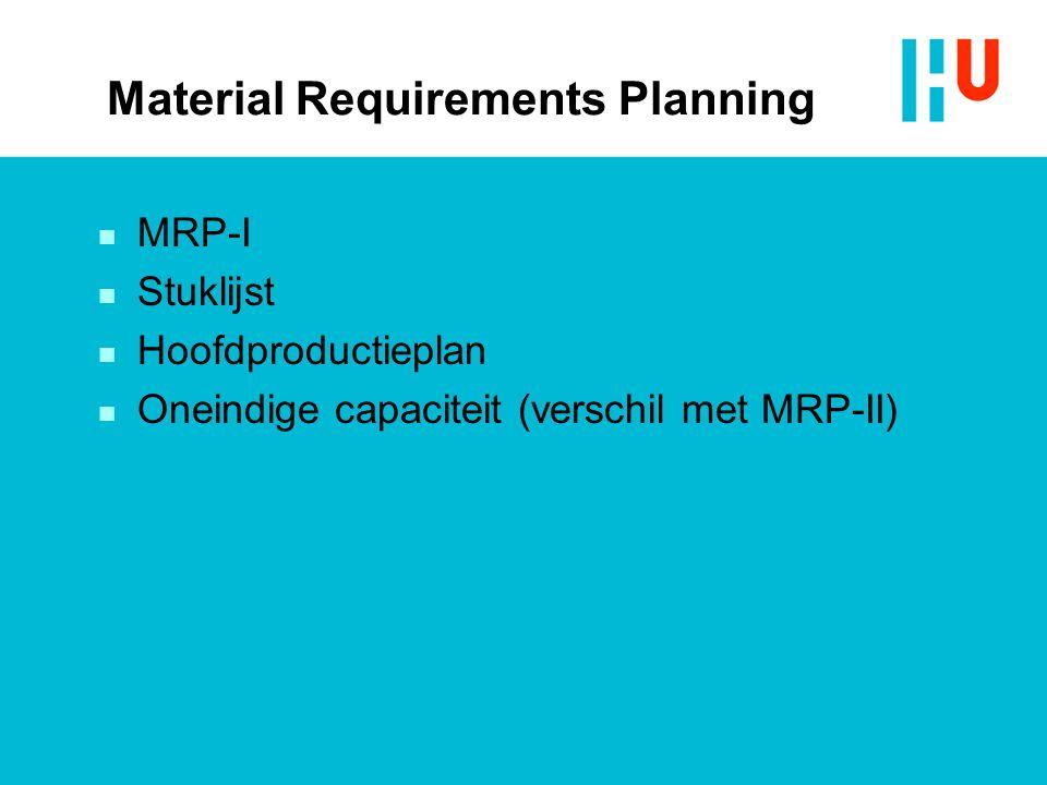 Material Requirements Planning n MRP-I n Stuklijst n Hoofdproductieplan n Oneindige capaciteit (verschil met MRP-II)