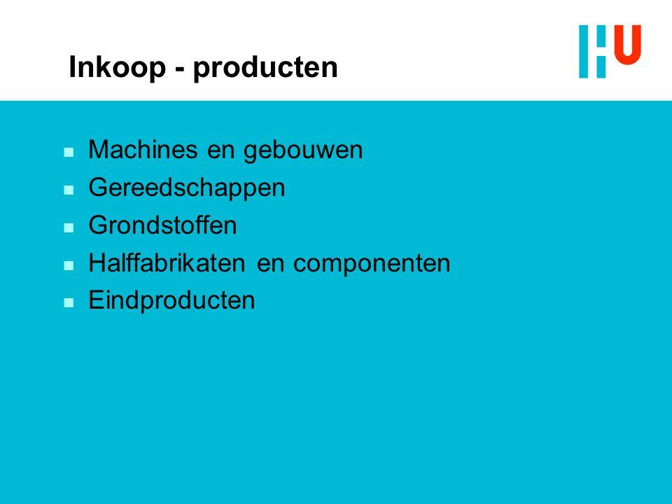 Inkoop - producten n Machines en gebouwen n Gereedschappen n Grondstoffen n Halffabrikaten en componenten n Eindproducten