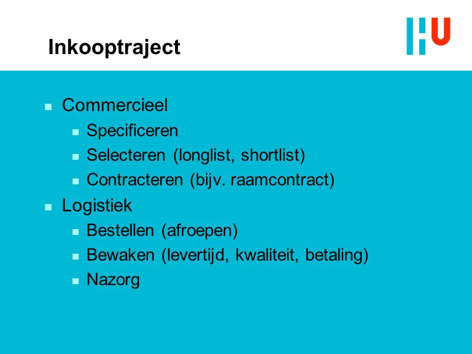 Inkooptraject n Commercieel n Specificeren n Selecteren (longlist, shortlist) n Contracteren (bijv.