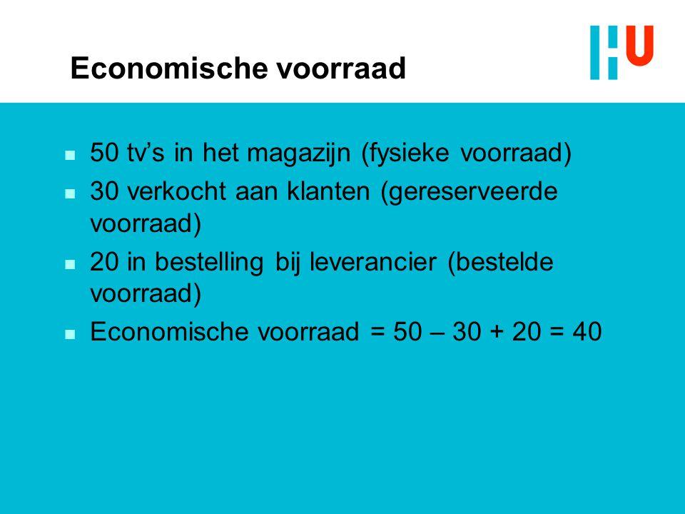 Economische voorraad n 50 tv's in het magazijn (fysieke voorraad) n 30 verkocht aan klanten (gereserveerde voorraad) n 20 in bestelling bij leverancier (bestelde voorraad) n Economische voorraad = 50 – 30 + 20 = 40