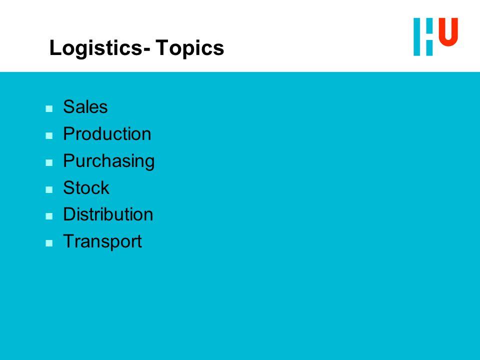 Logistics- Topics n Sales n Production n Purchasing n Stock n Distribution n Transport