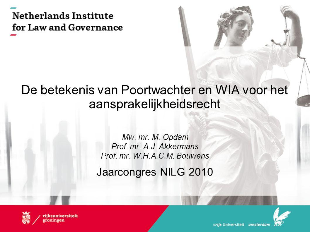 De betekenis van Poortwachter en WIA voor het aansprakelijkheidsrecht Mw. mr. M. Opdam Prof. mr. A.J. Akkermans Prof. mr. W.H.A.C.M. Bouwens Jaarcongr