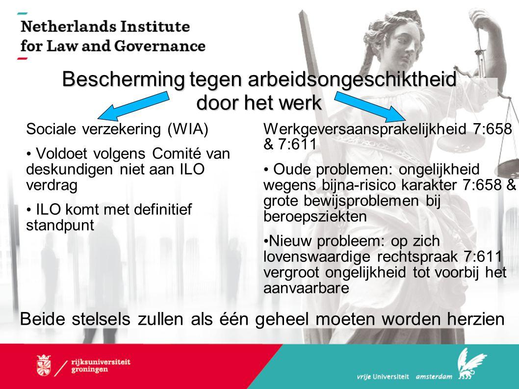 Bescherming tegen arbeidsongeschiktheid door het werk Sociale verzekering (WIA) • Voldoet volgens Comité van deskundigen niet aan ILO verdrag • ILO komt met definitief standpunt Werkgeversaansprakelijkheid 7:658 & 7:611 • Oude problemen: ongelijkheid wegens bijna-risico karakter 7:658 & grote bewijsproblemen bij beroepsziekten • Nieuw probleem: op zich lovenswaardige rechtspraak 7:611 vergroot ongelijkheid tot voorbij het aanvaarbare Beide stelsels zullen als één geheel moeten worden herzien