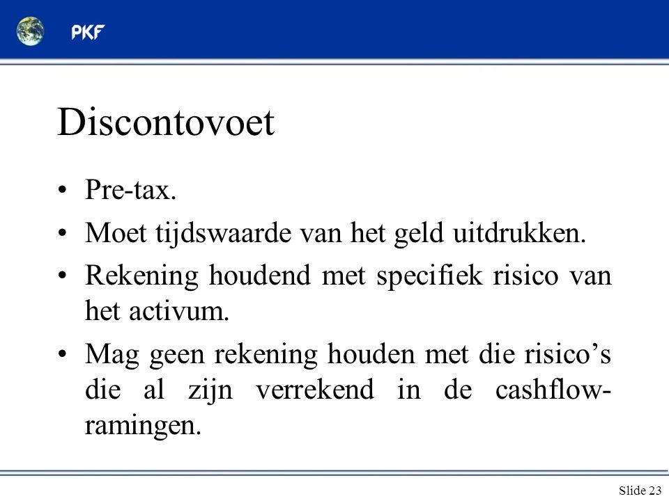 Slide 23 Discontovoet •Pre-tax. •Moet tijdswaarde van het geld uitdrukken. •Rekening houdend met specifiek risico van het activum. •Mag geen rekening