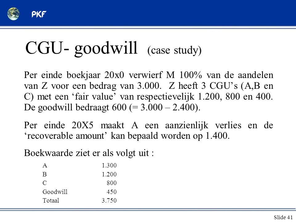 Slide 41 CGU- goodwill (case study) Per einde boekjaar 20x0 verwierf M 100% van de aandelen van Z voor een bedrag van 3.000. Z heeft 3 CGU's (A,B en C