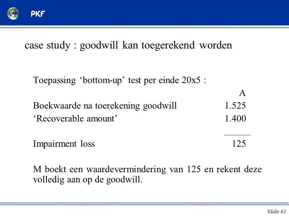 Slide 43 case study : goodwill kan toegerekend worden Toepassing 'bottom-up' test per einde 20x5 : A Boekwaarde na toerekening goodwill1.525 'Recovera
