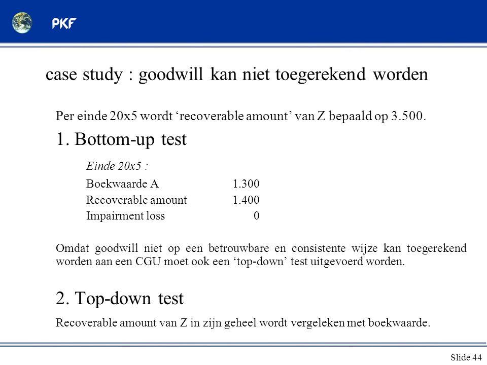 Slide 44 case study : goodwill kan niet toegerekend worden Per einde 20x5 wordt 'recoverable amount' van Z bepaald op 3.500. 1. Bottom-up test Einde 2