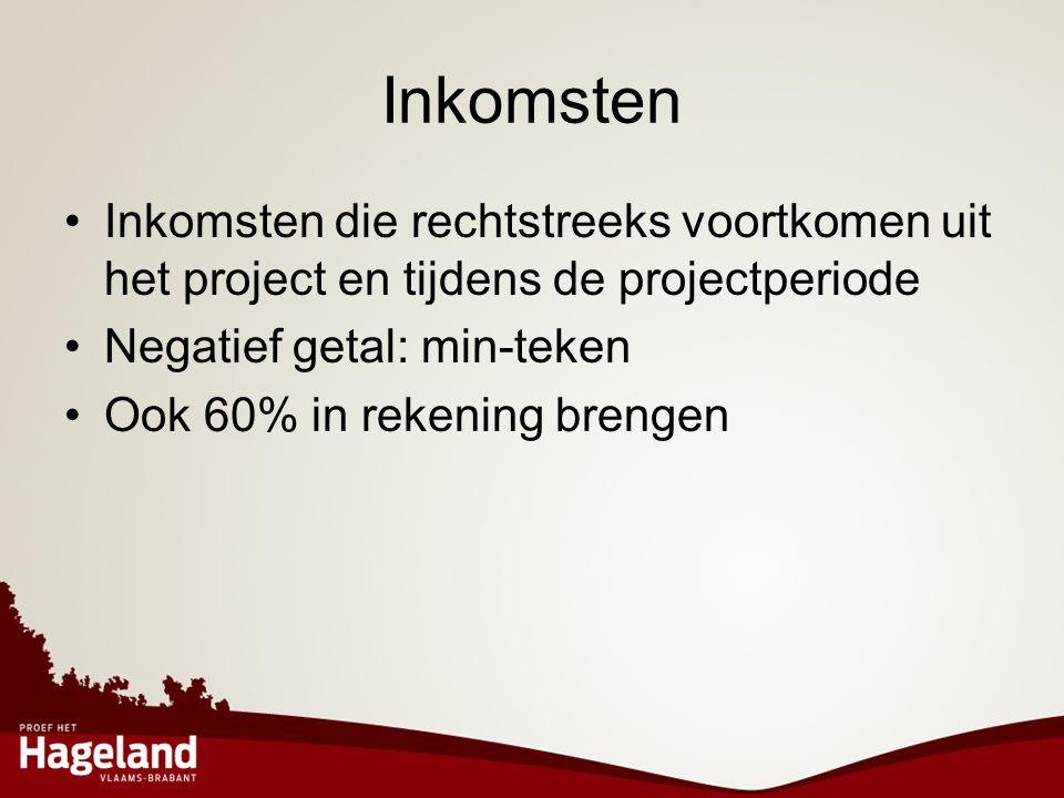 Inkomsten •Inkomsten die rechtstreeks voortkomen uit het project en tijdens de projectperiode •Negatief getal: min-teken •Ook 60% in rekening brengen