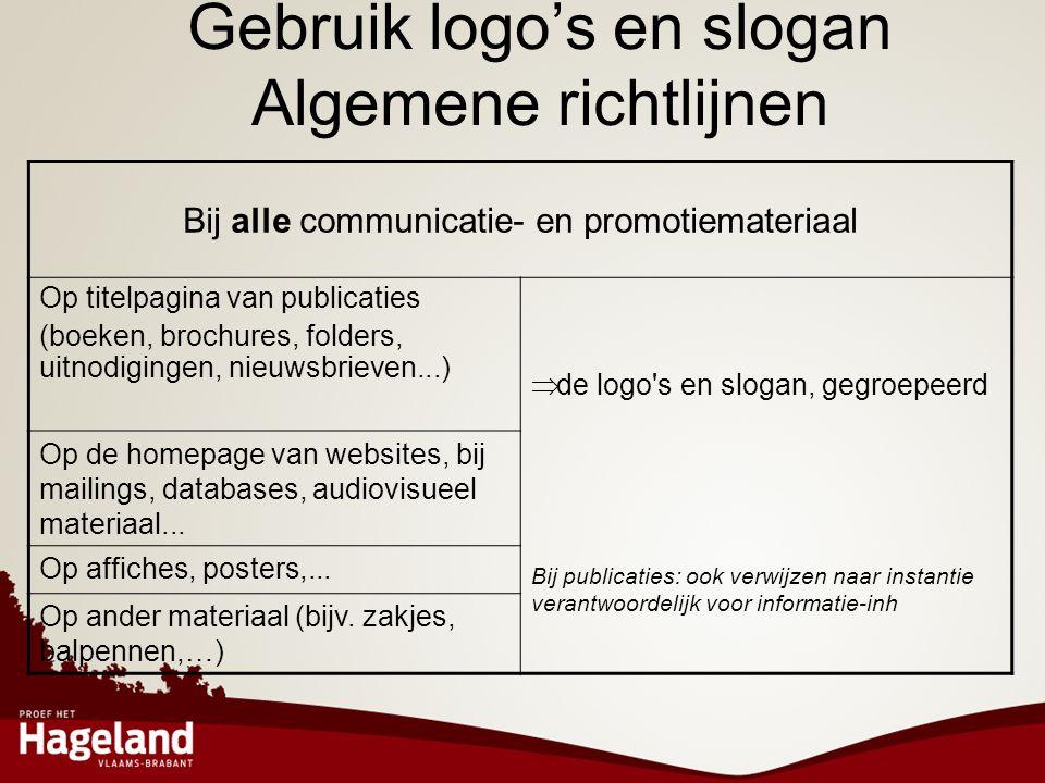 Gebruik logo's en slogan Algemene richtlijnen Bij alle communicatie- en promotiemateriaal Op titelpagina van publicaties (boeken, brochures, folders,