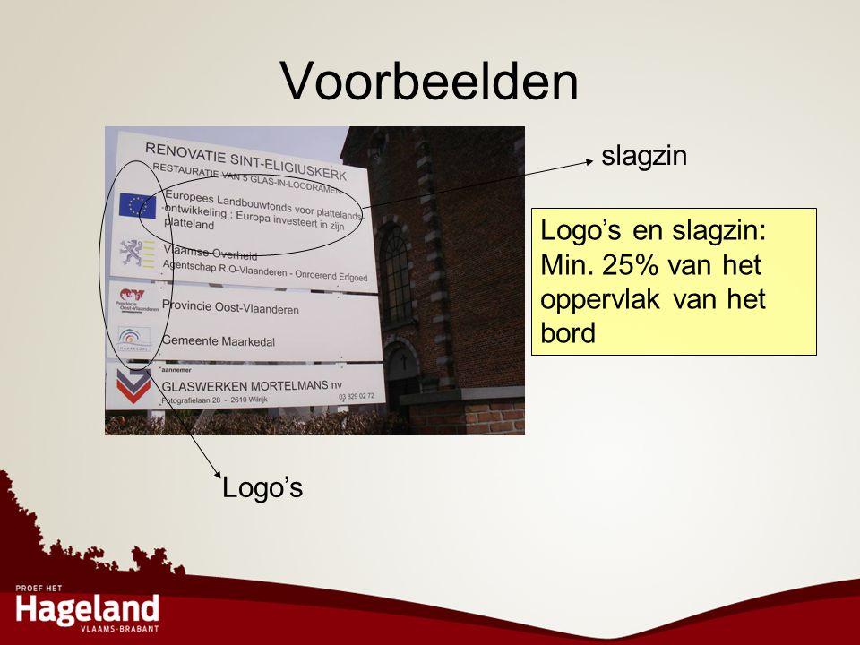Voorbeelden slagzin Logo's Logo's en slagzin: Min. 25% van het oppervlak van het bord