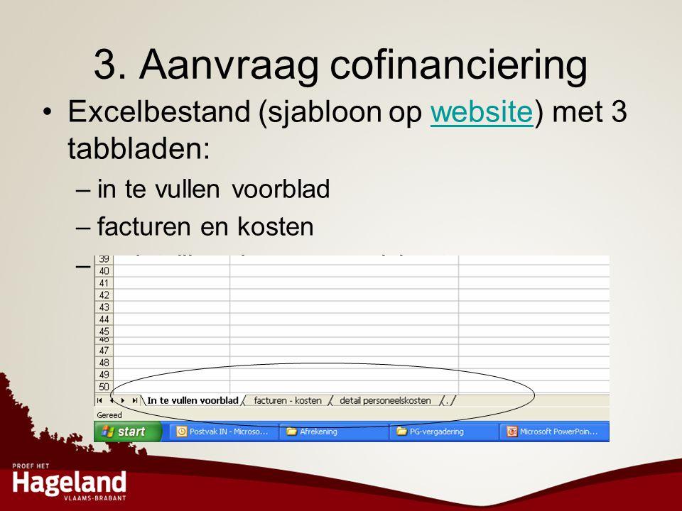 3. Aanvraag cofinanciering •Excelbestand (sjabloon op website) met 3 tabbladen:website –in te vullen voorblad –facturen en kosten –gedetailleerde pers