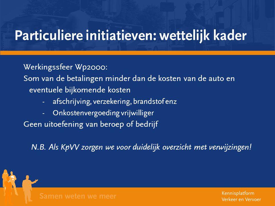 Particuliere initiatieven: wettelijk kader Werkingssfeer Wp2000: Som van de betalingen minder dan de kosten van de auto en eventuele bijkomende kosten