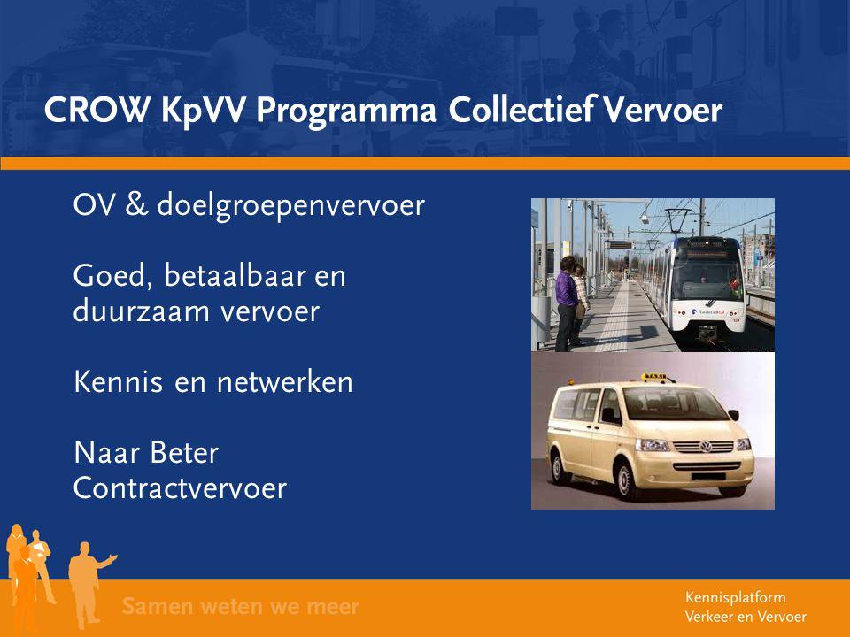 CROW KpVV Programma Collectief Vervoer OV & doelgroepenvervoer Goed, betaalbaar en duurzaam vervoer Kennis en netwerken Naar Beter Contractvervoer