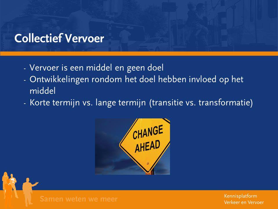 Collectief Vervoer - Vervoer is een middel en geen doel - Ontwikkelingen rondom het doel hebben invloed op het middel - Korte termijn vs. lange termij