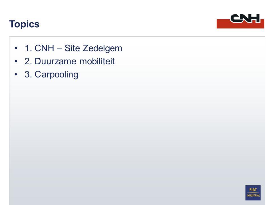•1. CNH – Site Zedelgem •2. Duurzame mobiliteit •3. Carpooling Topics