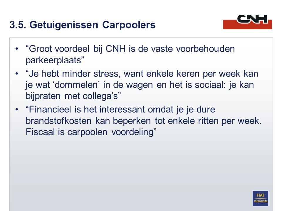 """3.5. Getuigenissen Carpoolers •""""Groot voordeel bij CNH is de vaste voorbehouden parkeerplaats"""" •""""Je hebt minder stress, want enkele keren per week kan"""