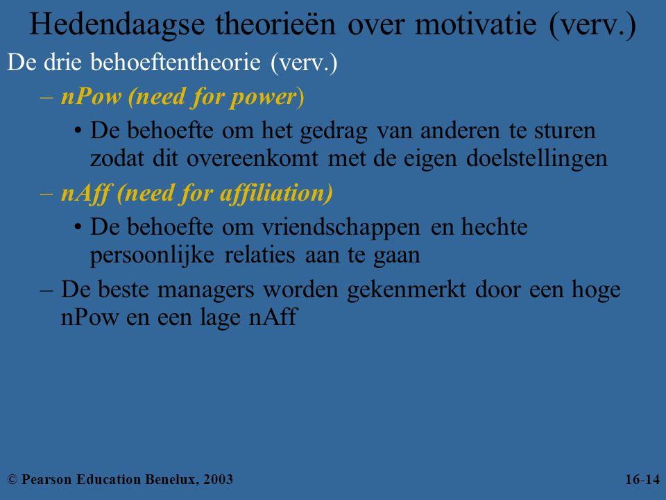 Hedendaagse theorieën over motivatie (verv.) De drie behoeftentheorie (verv.) –nPow (need for power) •De behoefte om het gedrag van anderen te sturen