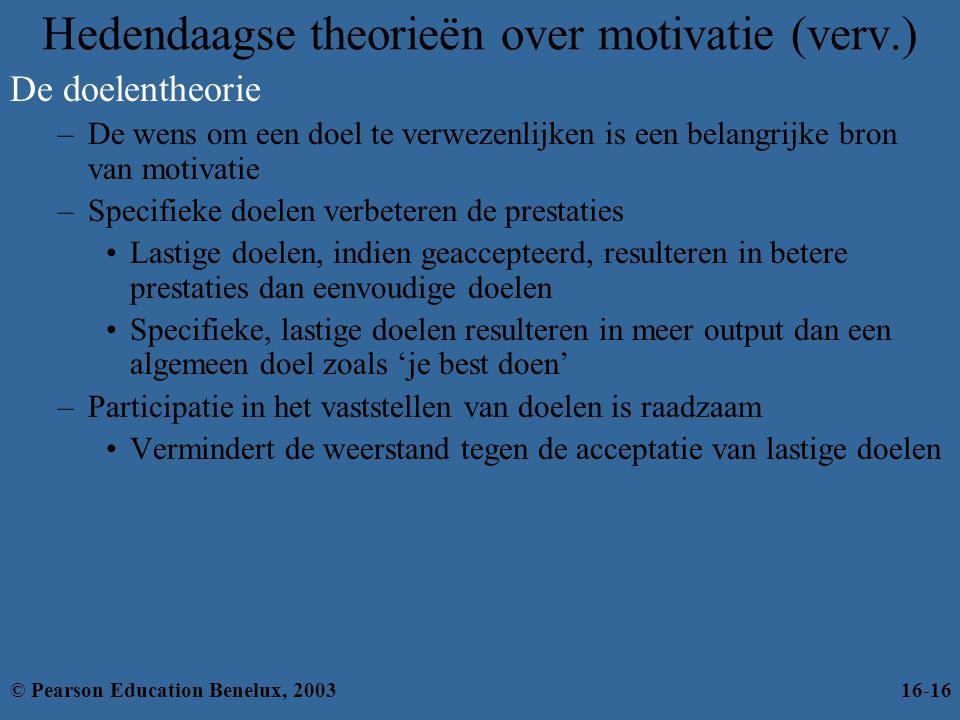 Hedendaagse theorieën over motivatie (verv.) De doelentheorie –De wens om een doel te verwezenlijken is een belangrijke bron van motivatie –Specifieke
