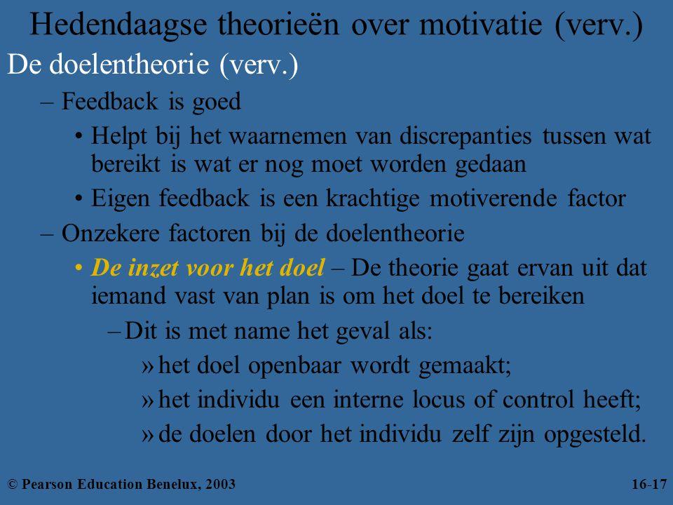 Hedendaagse theorieën over motivatie (verv.) De doelentheorie (verv.) –Feedback is goed •Helpt bij het waarnemen van discrepanties tussen wat bereikt
