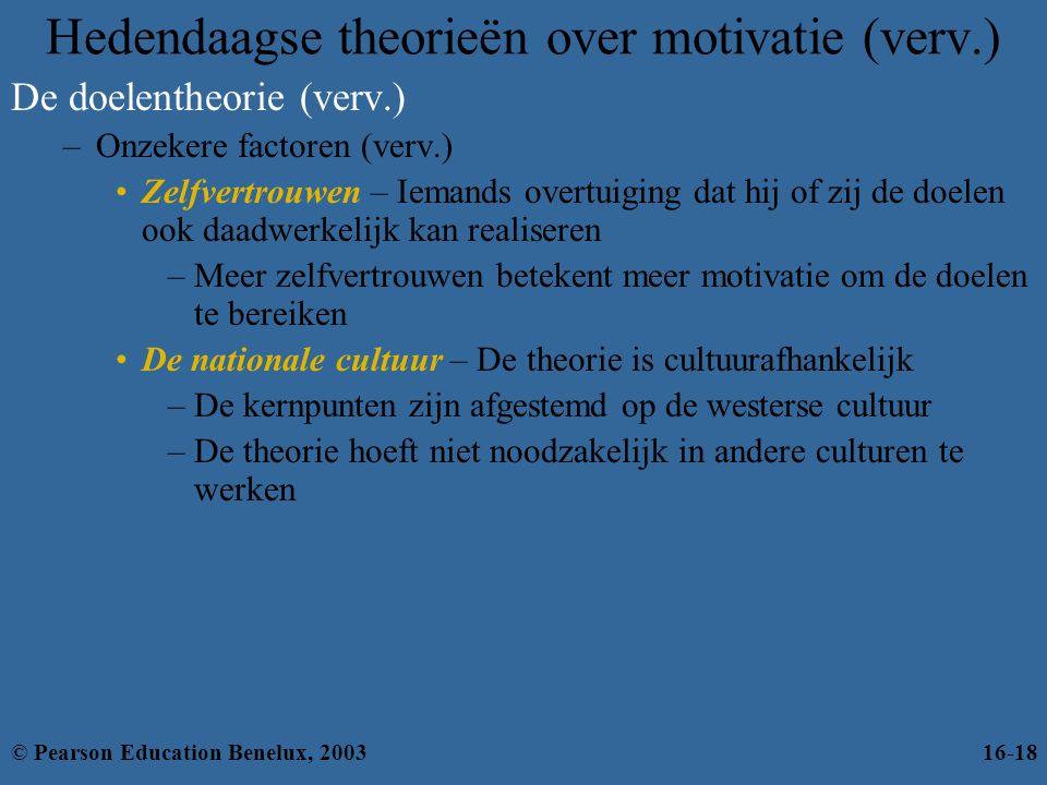 Hedendaagse theorieën over motivatie (verv.) De doelentheorie (verv.) –Onzekere factoren (verv.) •Zelfvertrouwen – Iemands overtuiging dat hij of zij