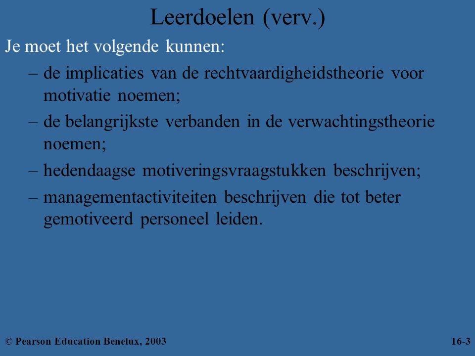 Figuur 16.11: Hedendaagse motivatietheorieën gecombineerd © Pearson Education Benelux, 200316-34