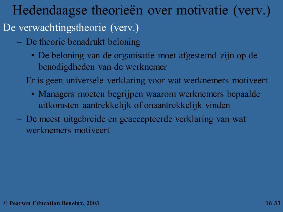 Hedendaagse theorieën over motivatie (verv.) De verwachtingstheorie (verv.) –De theorie benadrukt beloning •De beloning van de organisatie moet afgest