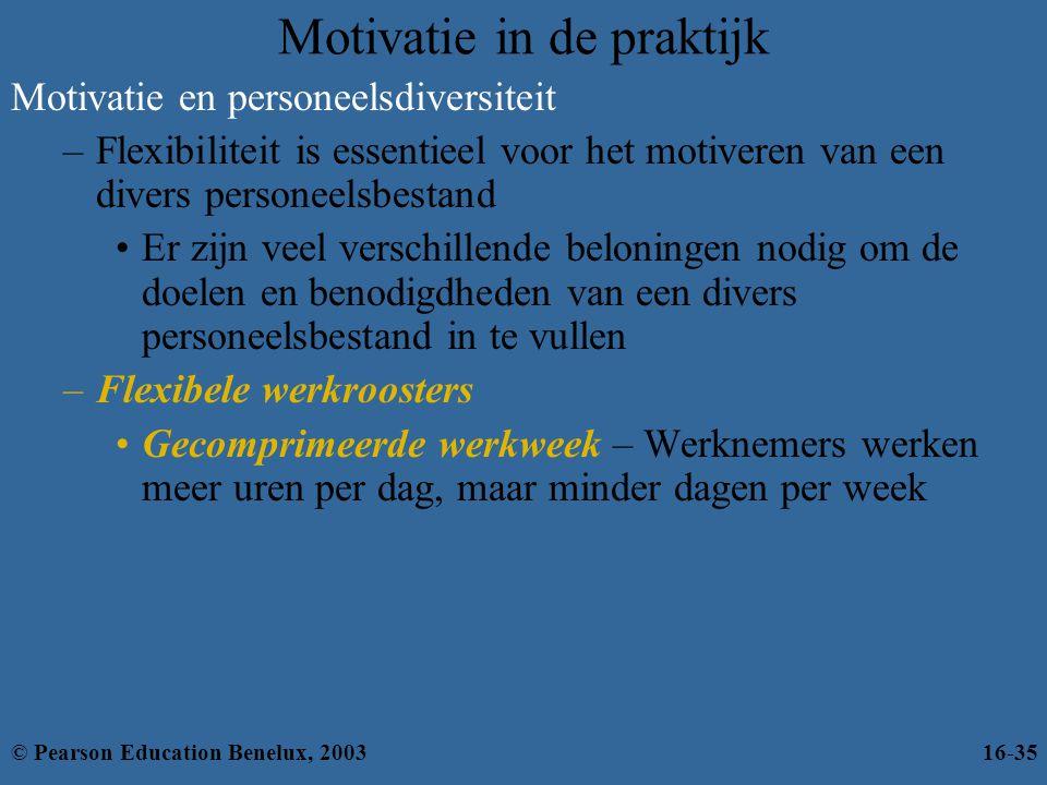 Motivatie in de praktijk Motivatie en personeelsdiversiteit –Flexibiliteit is essentieel voor het motiveren van een divers personeelsbestand •Er zijn
